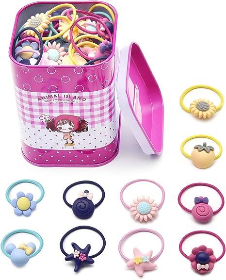 Pinces à Cheveux Fille Coreykin 40 Pcs élastiques à Cheveux De Dessin Animé Petites Cordes Des Petites Filles Porte Queue De Cheval Pour Tout Petits
