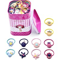 Coreykin 40 Packs for Little Girls Hair Colorful Ties Clips Headrope and Piggy Bank (Color)