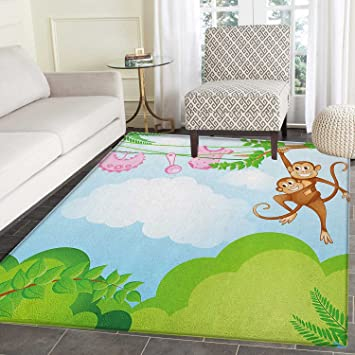 Amazon Com Nursery Rugs For Bedroom Monkey Swinging With The Kid