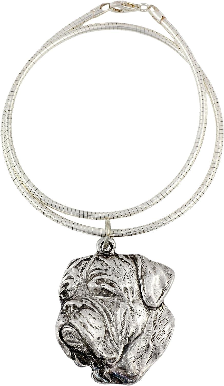 Dog de Bordeaux Bordeaux Mastiff French Mastiff ArtDog Necklace Silver Plated Dog Pendant on a Snake Chain
