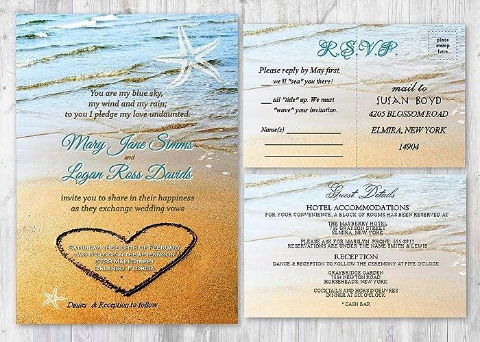 Beach Sand Wedding Invitation Starfish Ocean Invites Set Of 50