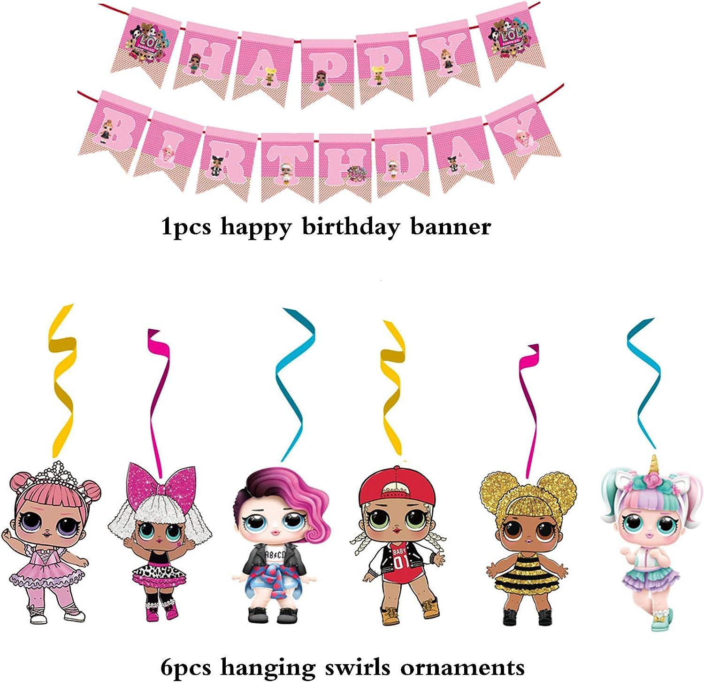 smileh LOL Surprise Doll Birthday Decorations LOL Happy Birthday Banner Hanging Swirl Decorations for Girls Birthday Party Decorations