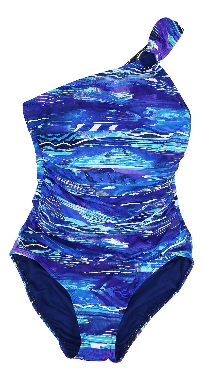 0defec0d4d Ralph Lauren Plus Size Ikat Calypso Tummy Control One Piece Bathing Suit ( Blue, 16W) at Amazon Women's Clothing store:
