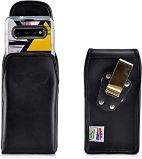 product image for Turtleback Belt Case Designed for Galaxy S10 Fits with OB Symmetry, Vertical Holster Black Leather Pouch with Heavy Duty Rotating Belt Clip, Made in USA