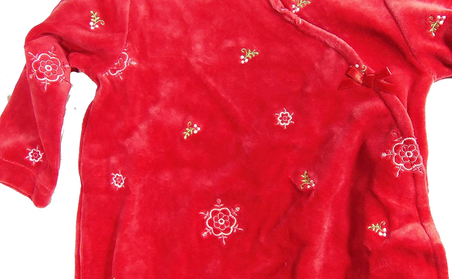 First Moments Infant Footed One Piece Flower Pajamas Red Bow Button Down