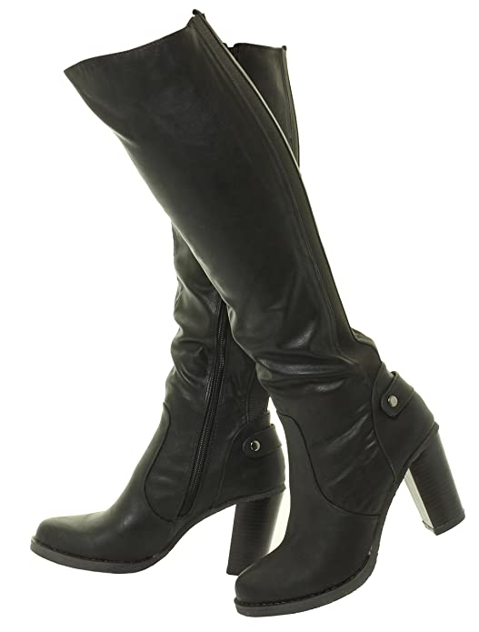 b9959a474bdf New Womens Ladies Knee High Boots Heel Gusset Stretchy Fit Wide Calf Black  Brown  Amazon.co.uk  Shoes   Bags