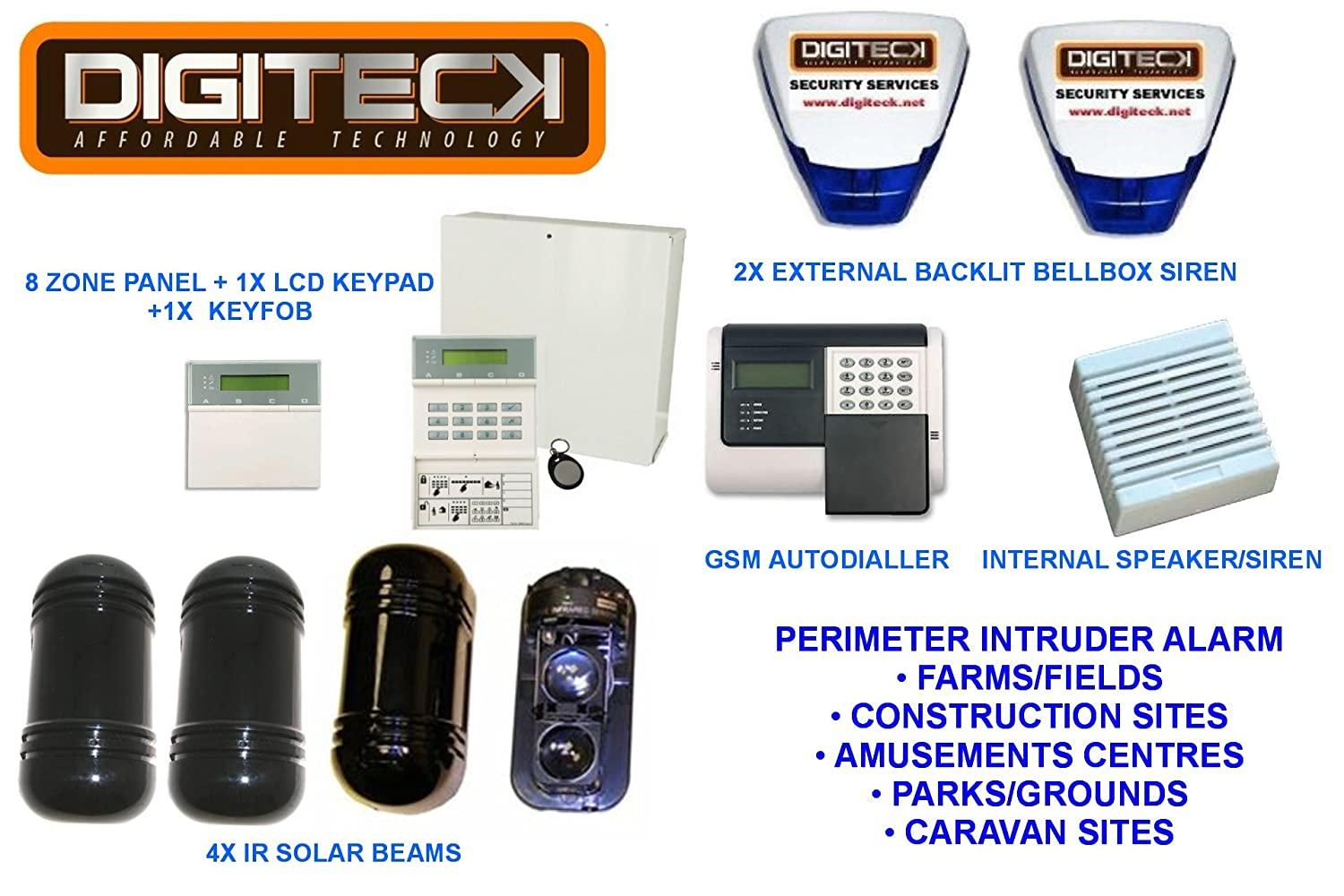 Perimeter Intruder Alarm Ir Solar Beams 100m Range With Gsm Infrared Autodialler Calls You When Triggered And 2 Live Backlit Bellboxes Diy Tools