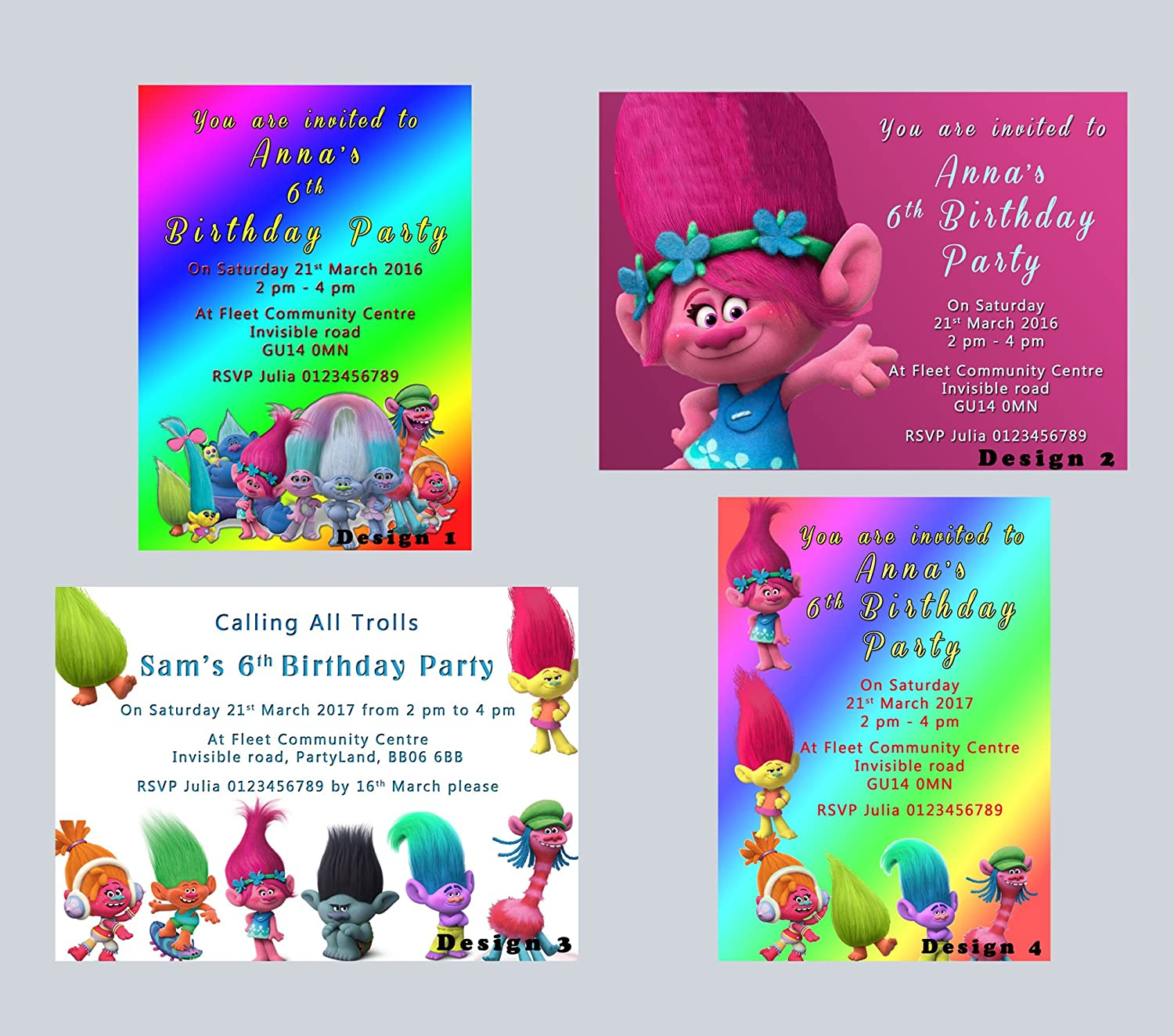 Personalised Trolls Birthday Party Invitations Greeting