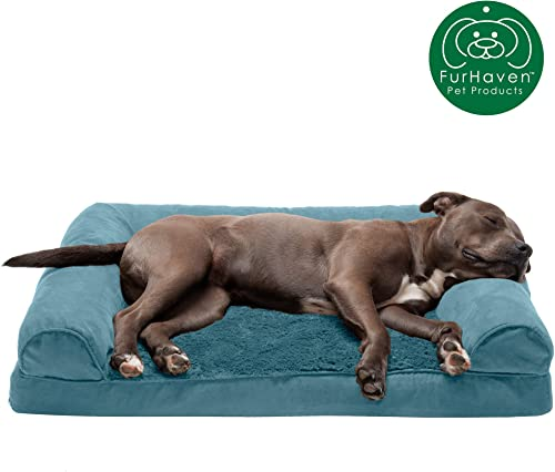 Furhaven Pet Dog Bed – Traditional Orthopedic Sofa-Style L Shaped Chaise Lounge Living Room Couch Calming Pet Bed Mid Century Modern Dog Bed Frame – Available in Multiple Colors Styles