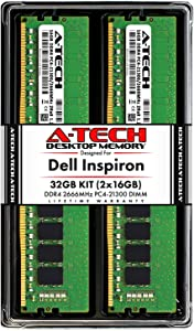 A-Tech 32GB (2x16GB) RAM for Dell Inspiron 3470, 3471, 3670, 3671, 5680 | DDR4 2666MHz DIMM PC4-21300 288-Pin Non-ECC UDIMM Desktop Memory Upgrade Kit
