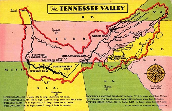 Amazon.com: Linen Postcard Map of the Tennessee Valley ...