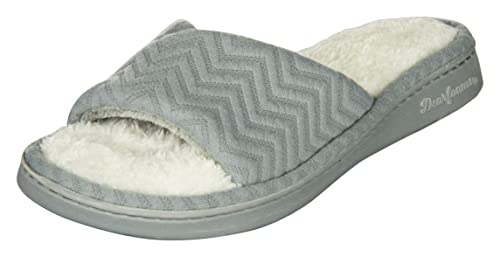 df282f406aaa69 Dearfoams Women s Grey Synthetic Chevron Knit Slide with Memory Foam  Slippers (Large
