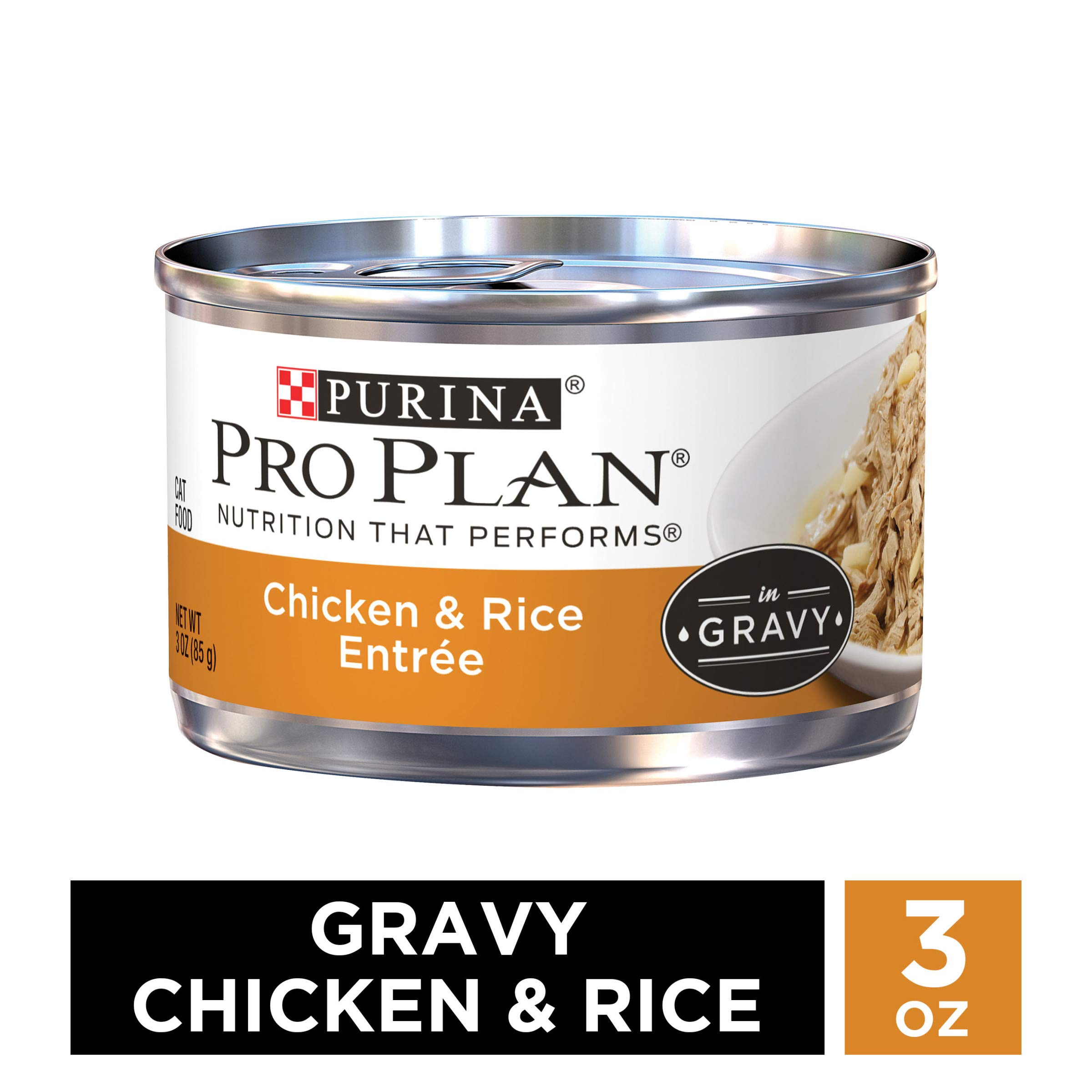 Purina Pro Plan Gravy Wet Cat Food, Chicken & Rice Entree - (24) 3 oz. Pull-Top Cans by PURINA Pro Plan
