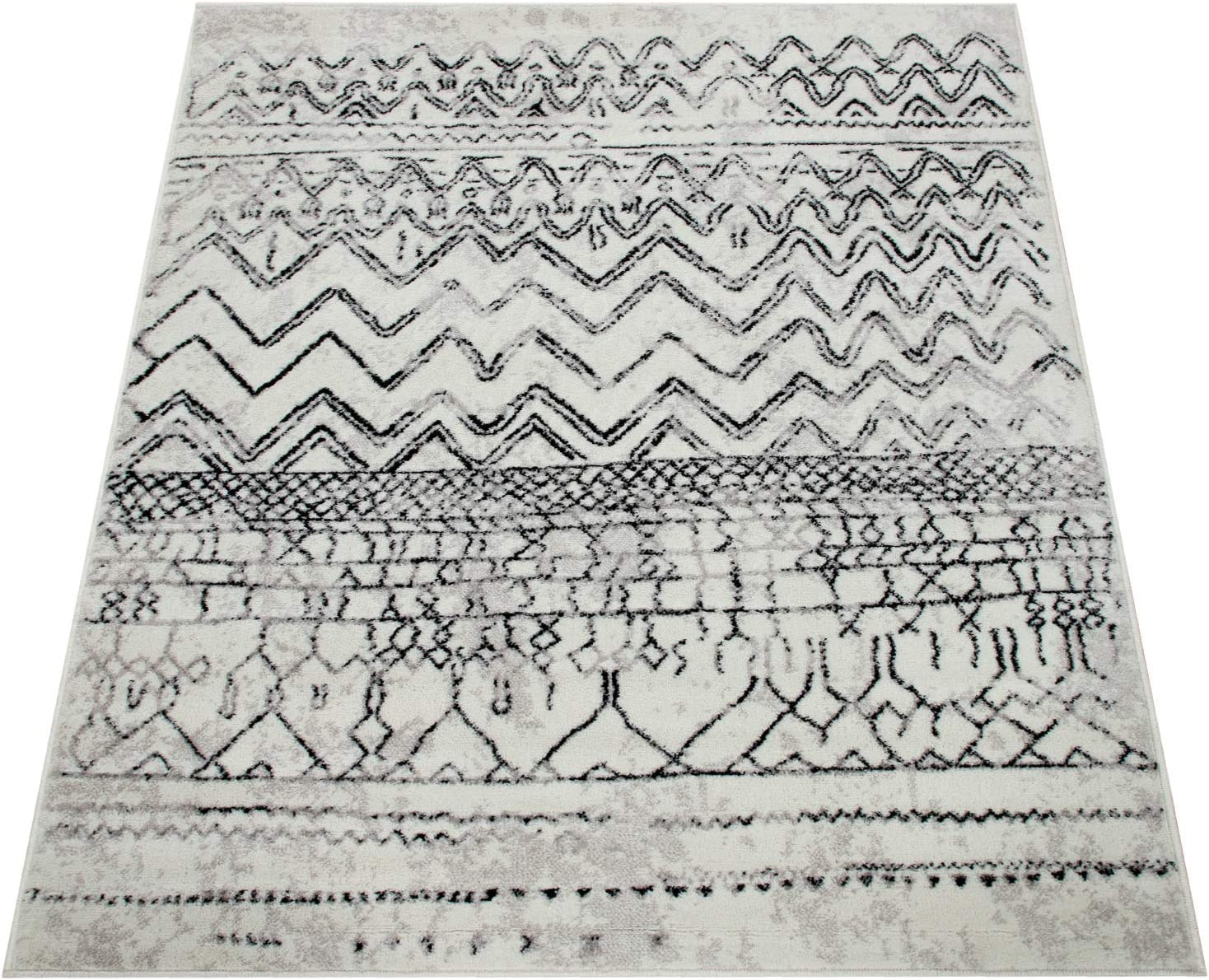 Alfombra Sal/ón Dise/ño Vintage con Motivos Escandinavos Pelo Corto Crema Gris tama/ño:60x100 cm