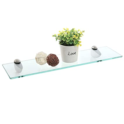 Glass Floating Shelves Impressive Amazon 60Inch Clear Glass Floating Shelf With Metal Base
