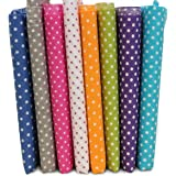 KINGSO 7PCS Cotton Fabric Bundles Quilting Sewing DIY Craft 19.7x19.7inch Polka Dot