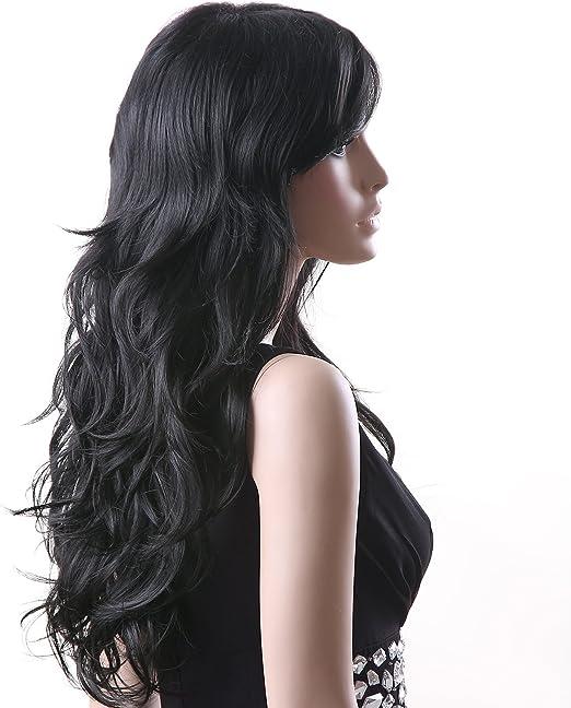 SONGMICS Peluca Larga Negra para Mujer Ondulada Pelo Rizado WFF041 ...