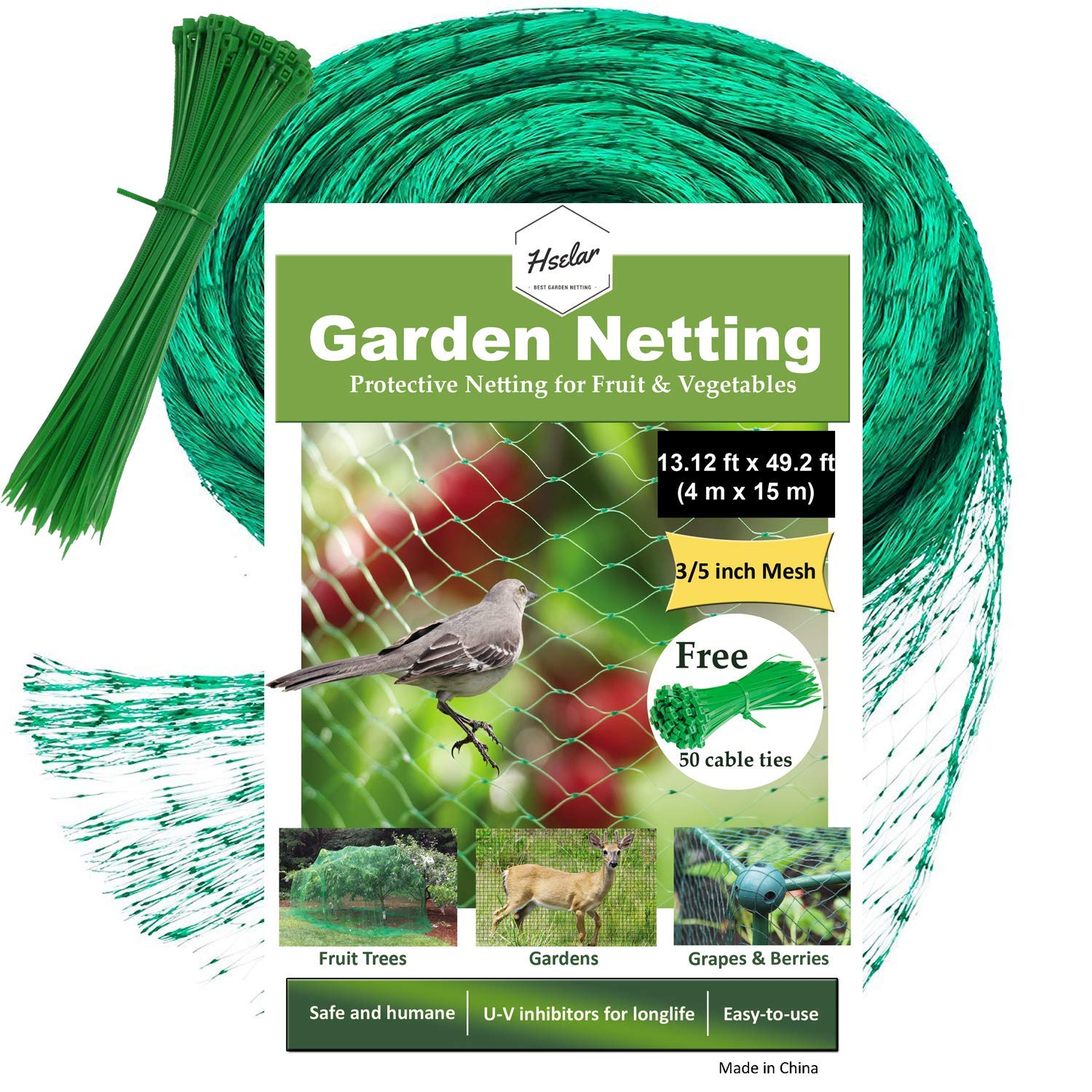 Hselar Best Bird Garden Netting - Protect Plants Fruit Trees, Blueberries, Squirrels Agriculture - 13.12Ft x 49.2Ft Anti Bird Netting with 50 Pcs Nylon Cable Ties - Reusable Instantly (Large Size)