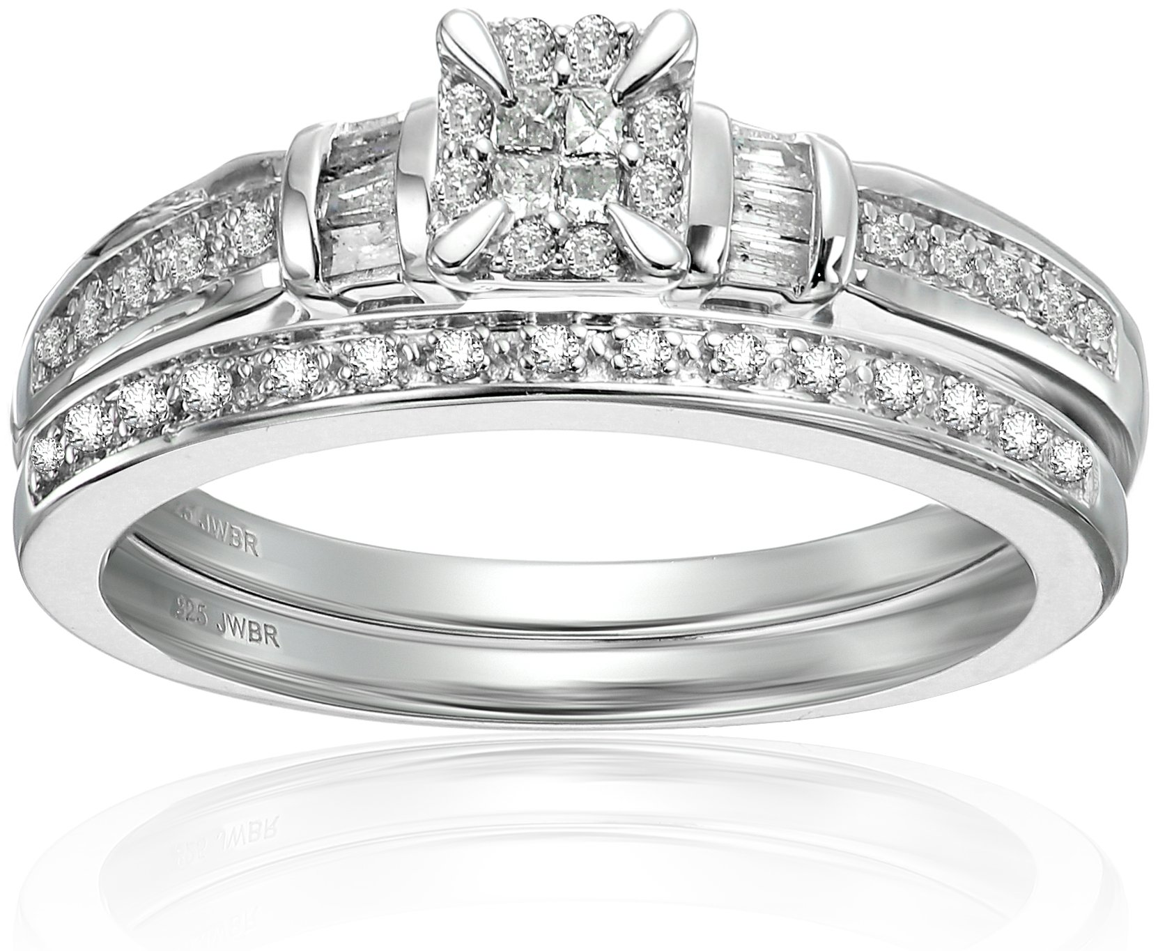 Sterling silver Diamond Square Cluster Bridal Ring, Size 7 (1/4cttw)