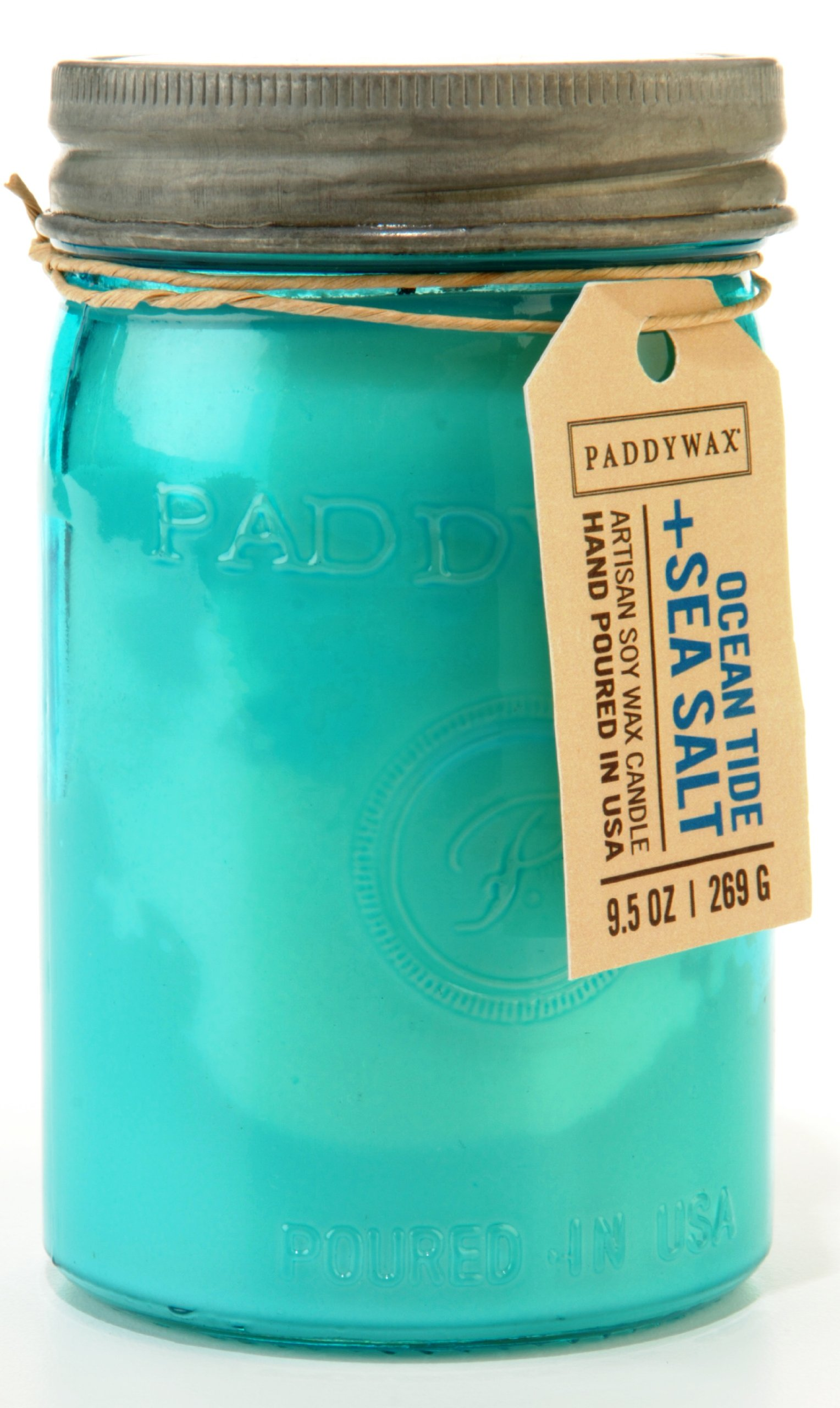 Paddywax Relish Collection Scented Soy Wax Jar Candle, 9.5-Ounce, Aqua Tide & Sea Salt