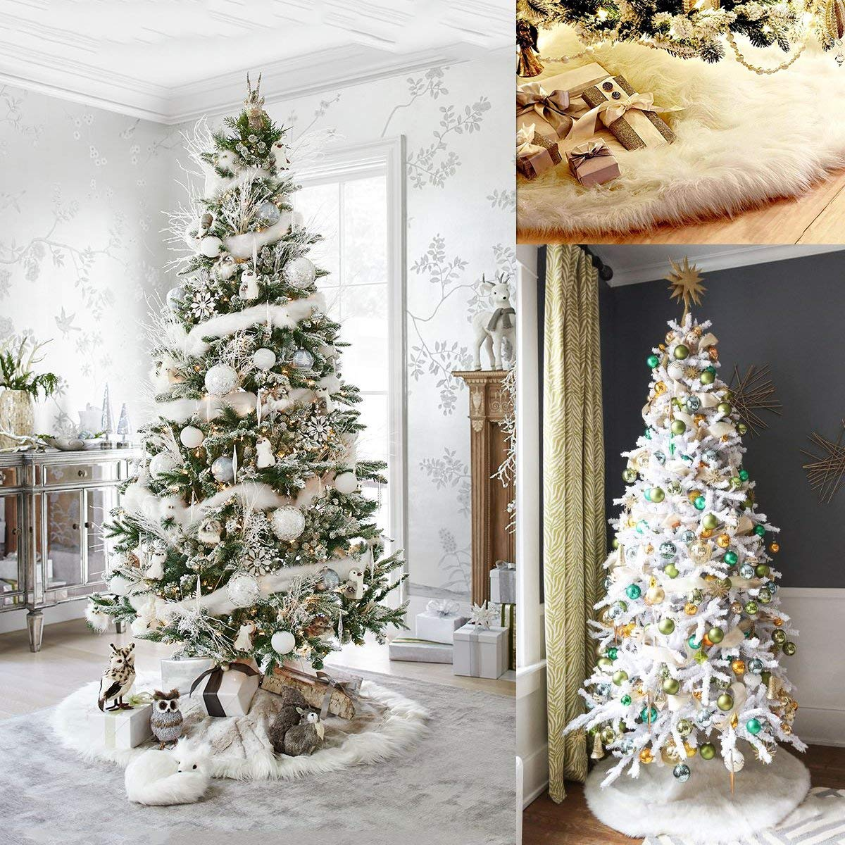 WEKNOWU 122 cm Colore: Bianco Tappetino in Peluche per Albero di Natale