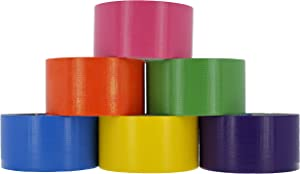 RAM-PRO Heavy-Duty Duct Tape | Assorted Fluorescent Colors Pack of 6 Rolls, 1.88-inch x 10 Yard – Colors Included: Green, Yellow, Purple, Blue, Pink & Orange.
