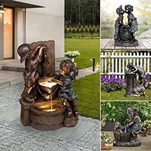 Boy & Girl Garden Statue Pressure Water Bath Kissing Drinking Statue with Lights Whimsical Flowerbed Outdoor Statue Ornaments for Home Yard Garden Lawn Indoor Outdoor Decor (B)