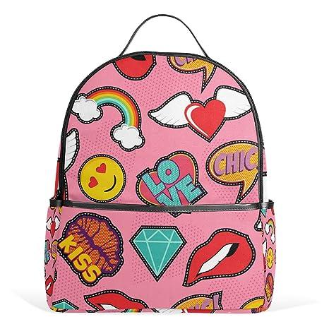 COOSUN Patrón emoji rosa del arte pop de la puntada Patch mochilas escolares mochilas para Niños