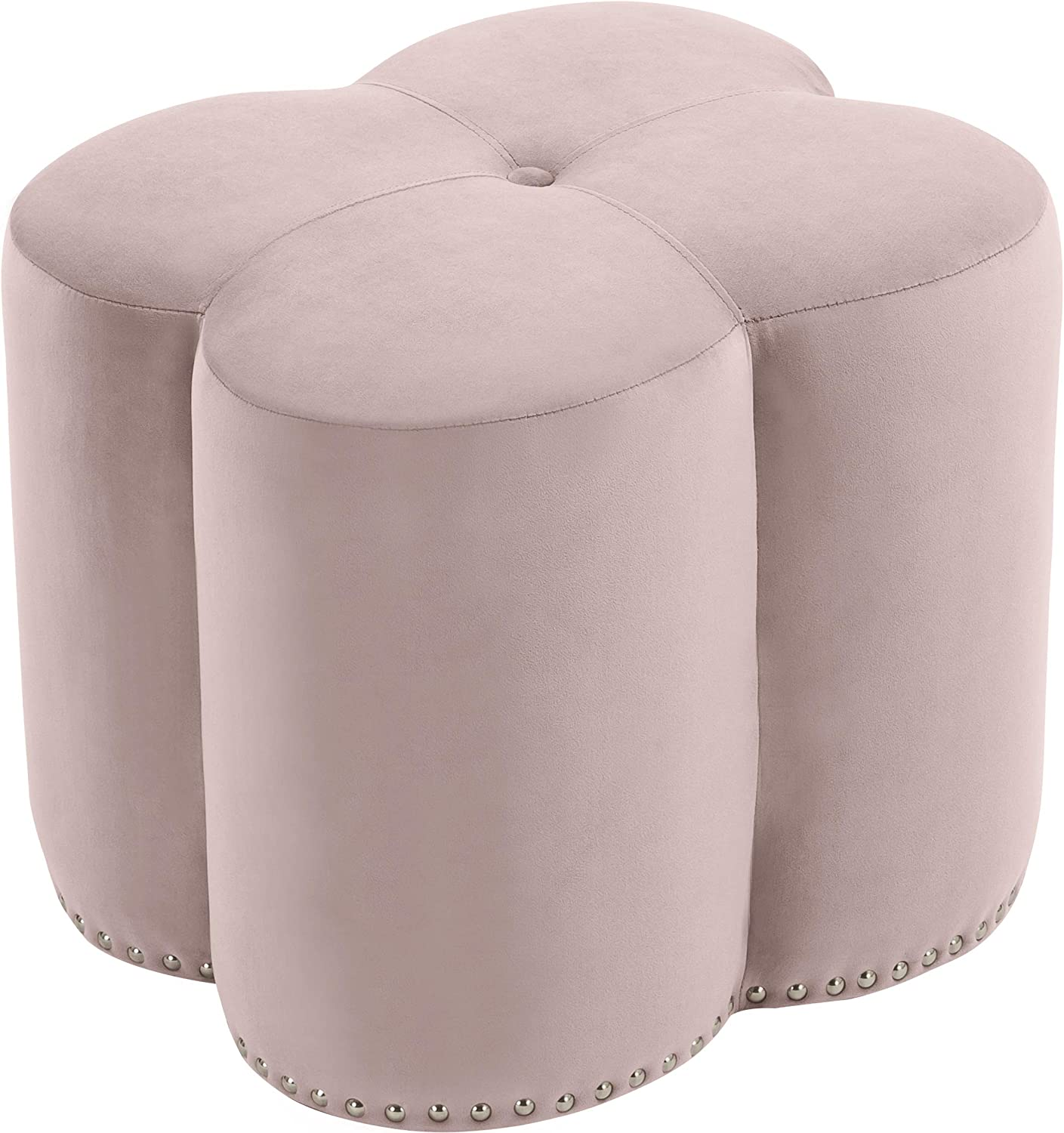 Meridian Furniture Clover Collection Modern | Contemporary Velvet Upholstered Flower Shaped Ottoman with Silver Nailheads, 19