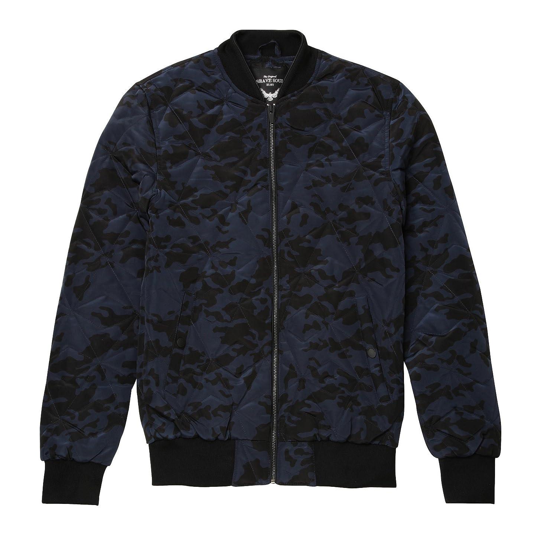 Brave Soul Mens Bono Geometric Quilted Camo Print Bomber Jacket