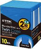 TDK ブルーレイディスク用 ツインケース(2枚収納タイプ) 割れにくいソフトケース 厚さ12mmの標準ケース ジャケットカード付き 10枚パック CASE-BD2B10A