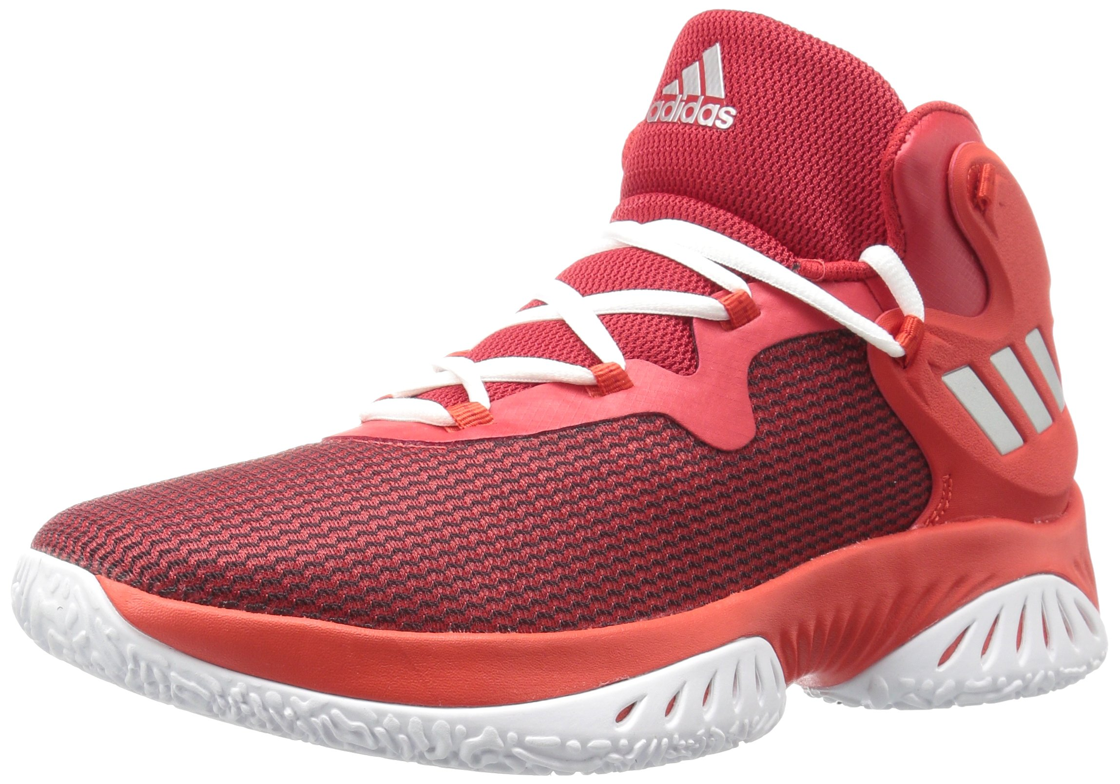 adidas Men's Explosive Bounce Basketball Shoes, Scarlet/Metallic Silver/Core Red, ((13.5 M US)