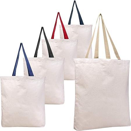 BagzDepot - Bolsas de lona reutilizables para tienda de compras, 12 unidades, bolsas lisas de algodón para decorar manualidades, regalos, eranes, trabajo, escuela, con asas de colores: Amazon.es: Hogar