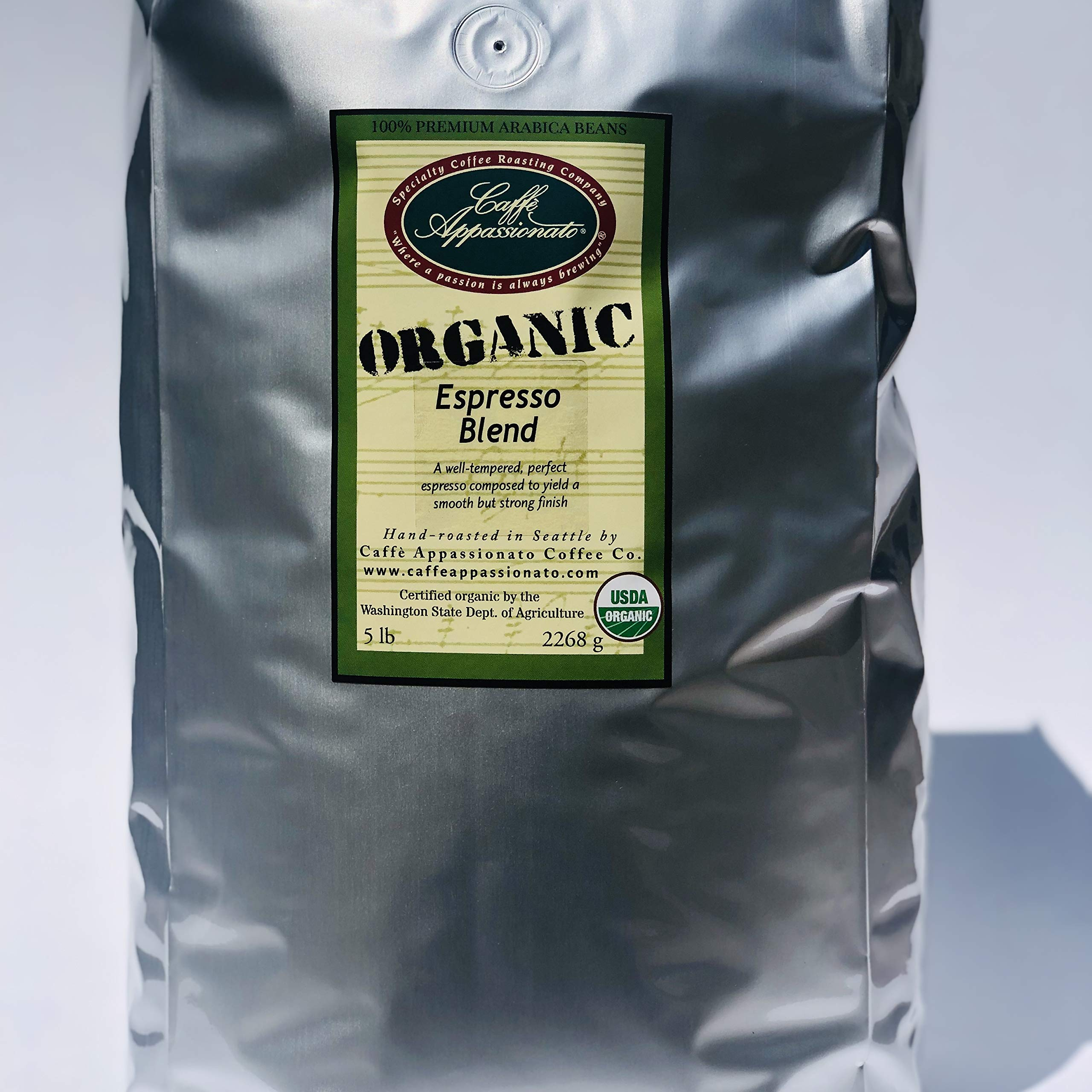 Caffe Appassionato Organic Shade Grown Espresso Roast Whole Bean Coffee, 5-Pound Bags by Caffe Appassionato