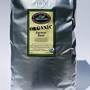 Caffe Appassionato Organic Shade Grown Espresso Roast Whole Bean Coffee, 5-Pound Bags