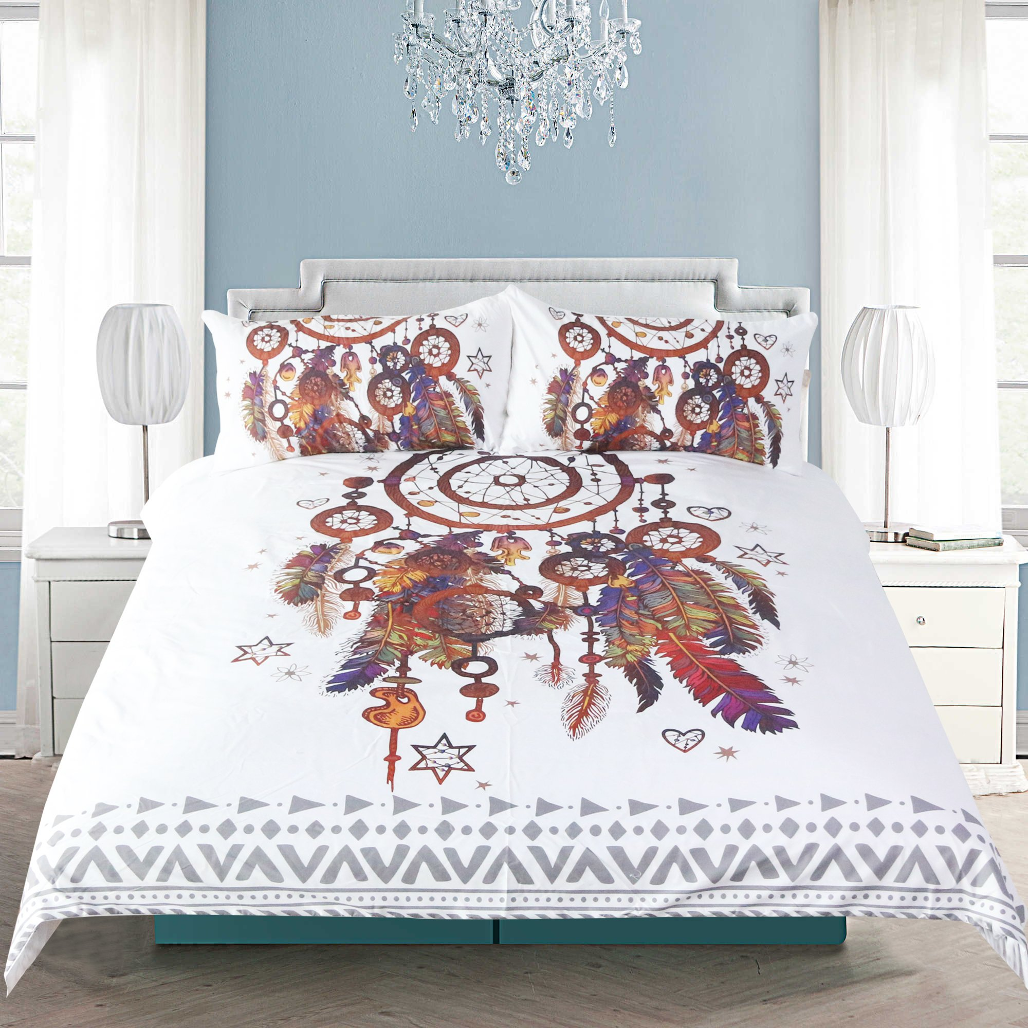 Sleepwish Hippy Feather Dream Catcher Bedding Set India Ethnic Dreamcatcher Duvet Cover Boho Chic Duvet Cover (Queen)