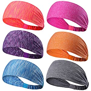 6 Pack Dreamlover Sports Headband, Women's Yoga Athletic Hairband, Men's Sweatband, Working out Sports Headband for Running, Travel and Fitness, Lightweight Non Slip Wicking Elastic Sports Headband