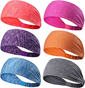 6 Pack Dreamlover Yoga Sports Headband, Women's Elastic Athletic Hairband, Men's Sweatband, Lightweight Working Out Headbands