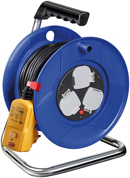 Brennenstuhl Garant 3-way socket outlet cable reel with RCD-plug ...