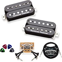 Seymour Duncan SH-4 and SH-2N Hot Rodded Humbucker Pickup Set (Neck and Bridge) Bundle with Blucoil 10-FT Straight…