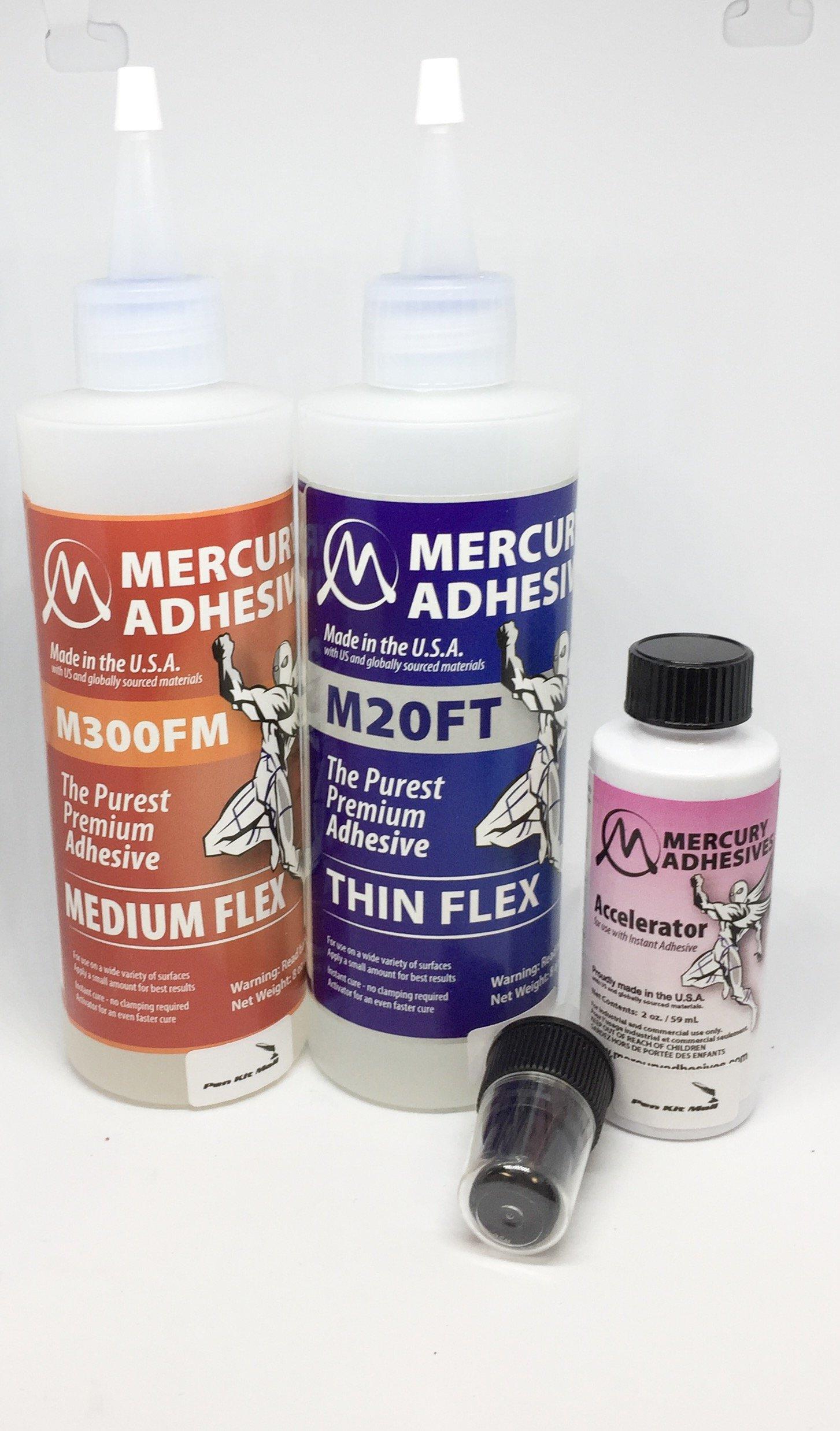 PKM Mercury Adhesives Flex Combo PK 8 OZ Thin Flex 8 OZ MED Flex & 2 OZ ACTIVATOR/Accelerator