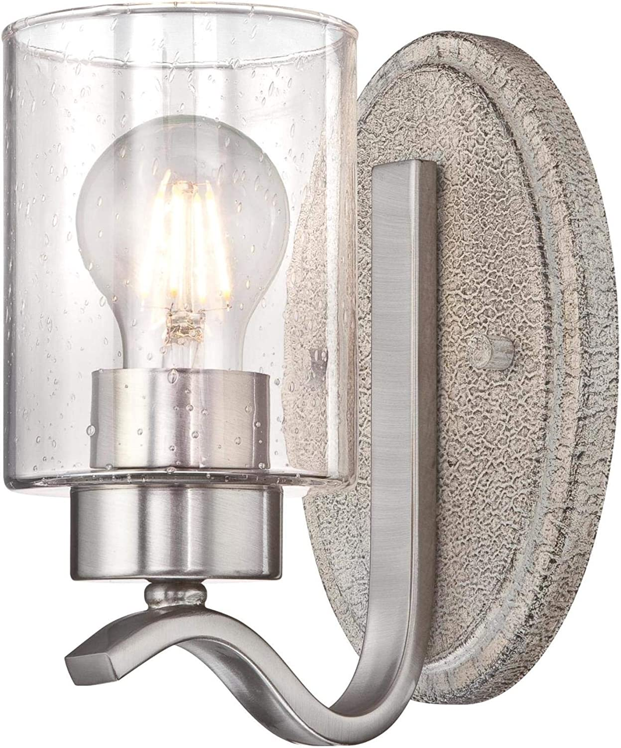 Westinghouse Lighting 6577000 Barnwell One-Light Indoor Wall Fixture, Antique Ash and Brushed Nickel Finish with Clear Seeded Glass