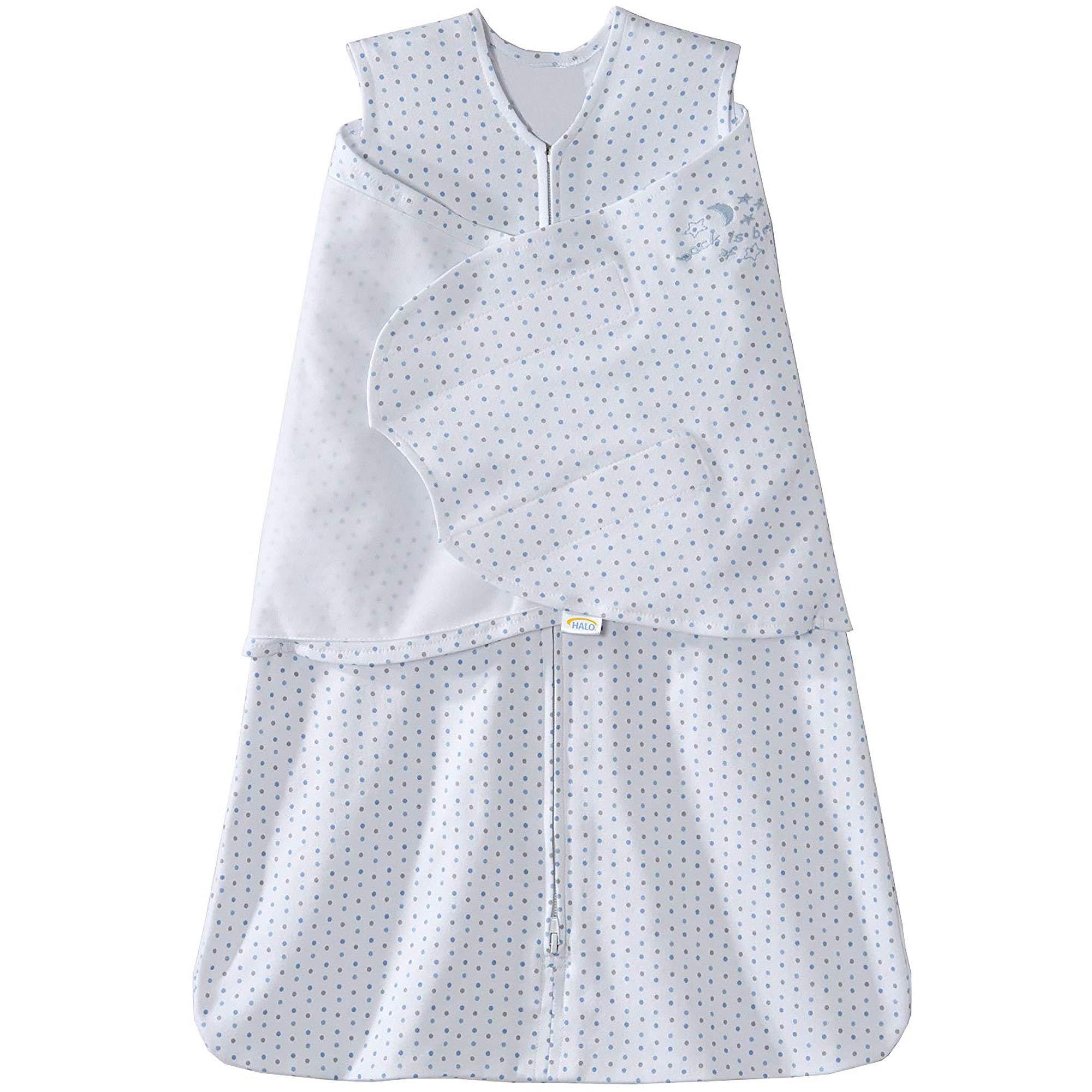 Halo Sleepsack 100% Cotton Swaddle, Blue and Grey Dot, Newborn