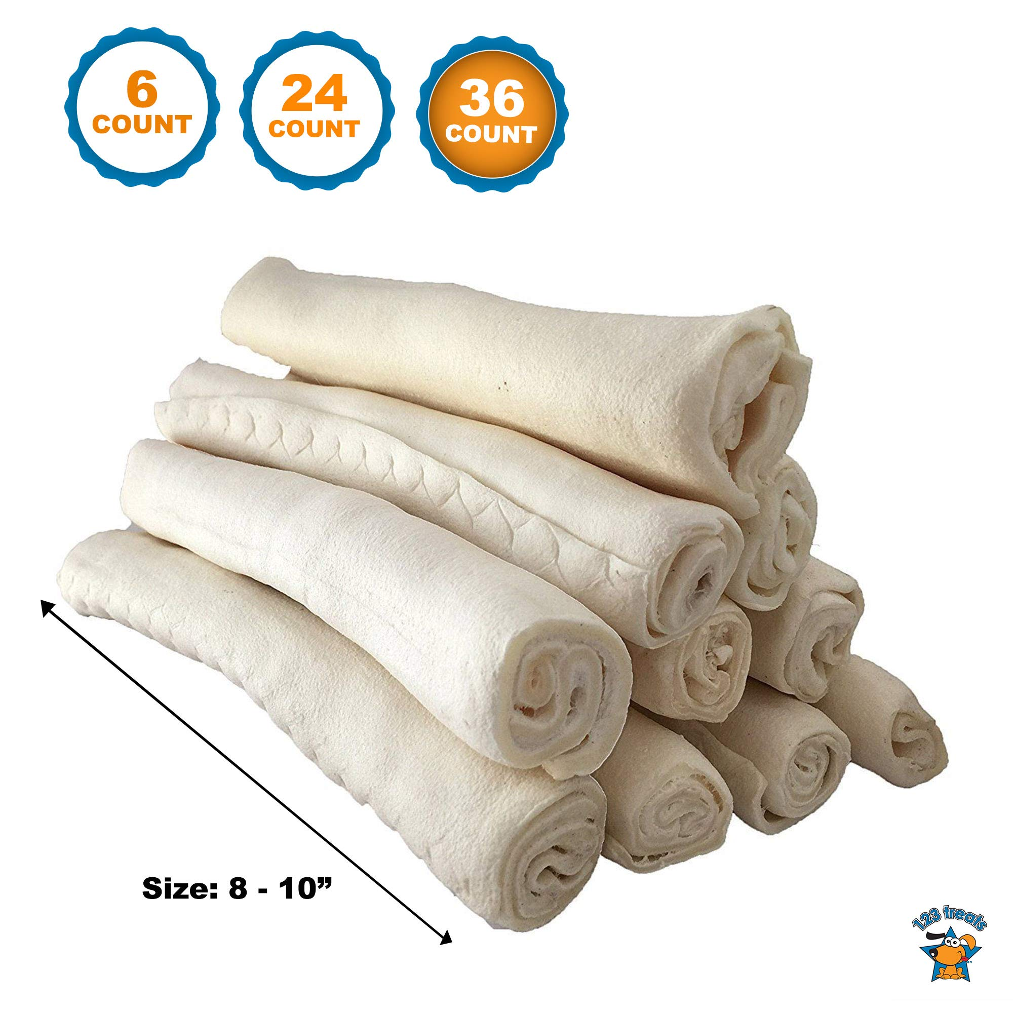 "123 Treats - Premium Rawhide Retriever Rolls For Dogs 8-9"" (36 Count) All-Natural Grass-Fed Free-Range Hand Rolled Beef Dog Bones High-Protein Healthy Chew Treats To Improve Pet Dental Hygiene by 123 Treats (Image #1)"