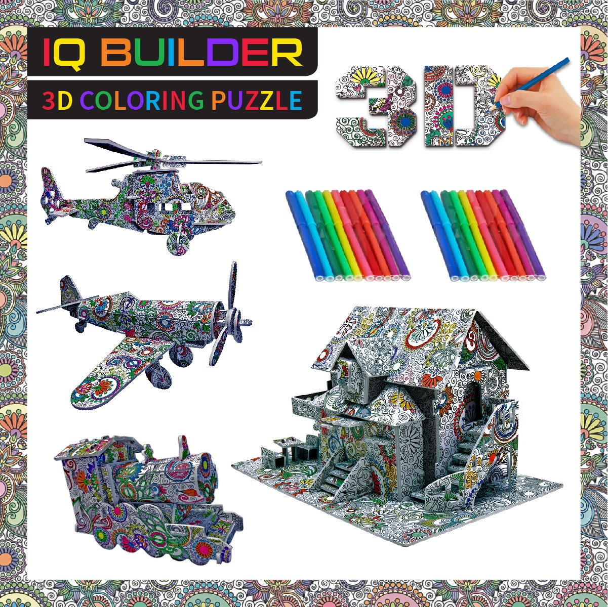 IQ BUILDER | FUN CREATIVE DIY ARTS AND CRAFTS KIT | BEST TOY GIFT FOR GIRLS AND BOYS AGE 8 9 10 11 12 YEAR OLD | EDUCATIONAL ART BUILDING PAINTING COLORING 3D PUZZLE PROJECT SET FOR KIDS AND ADULTS Review