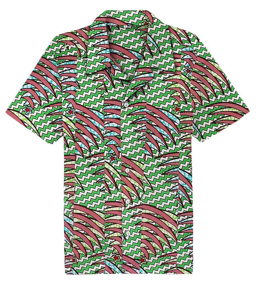Be Loved Beloved Mens Summer Turn Down Collar Short Sleeve Button Down Hawaiian Casual Print Shirt