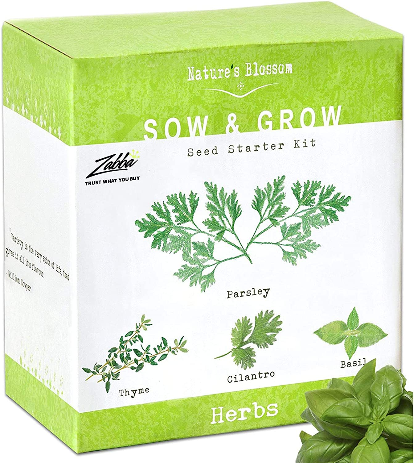 Nature S Blossom Indoor Herb Garden Starter Kit With 5 Organic Herbs To Grow From Seed Complete Diy Gardeners Growing Set With Italian Basil Cilantro Coriander Thyme Sage And Parsley Plant Seeds Amazon Ca