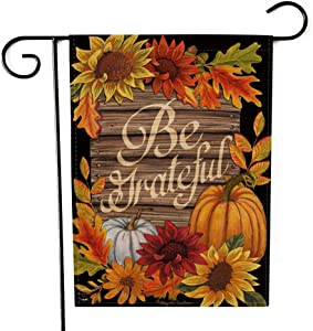 Be Grateful Garden Flag Double-Sided Farmhouse Autumn Yard Burlap Banner,Flag for Fall,Thanksgiving Indoor Outdoor Decoration 12.6