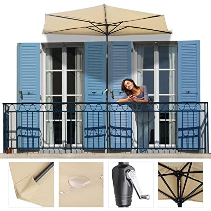 Ordinaire Koval Inc. Half Patio Umbrella Off The Wall Tilt (10 FT, Beige)