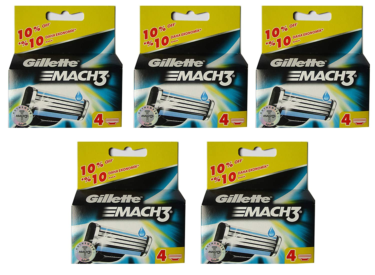 Gilletté Mach 3 Razor Refill Cartridges 20 Count - Free Gift Included (Choose one gift upon purchase) Gillete Mach 3